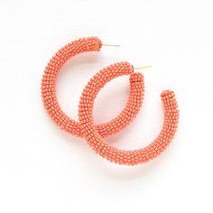 Seed Bead Hoops - Coral – The Mustard Seed Marketplace Seed Bead Earrings, Beaded Earrings, Seed Beads, Crochet Earrings, Hoop Earrings, 90s Jewelry, Lilac, Glass Beads, Seeds