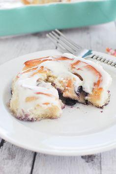 Blueberry Lemon Sweet Rolls with Lemon Cream Cheese Glaze