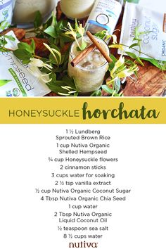 Lightened sweetened with Organic Coconut Sugar, this Honeysuckle Horchata beverage is just what this summer is calling for.  #horchata #coconutsugar #summer #coconutoil #hempseed #hemp #recipe Liquid Coconut Oil, Organic Coconut Oil, Coconut Sugar, Coconut Flour, Summer Bbq, Summer Drinks, Horchata, Hemp Seed Recipes, Hemp Recipe