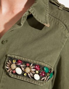 Jewel details on pocket of army green too #details