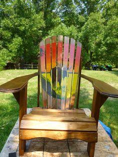 Hand Painted Muskoka Chair by Doug Wilkie www.aframestudios.ca Adirondack Chairs, Outdoor Chairs, Outdoor Decor, Painted Chairs, Painted Furniture, Garden Furniture, Outdoor Furniture, Porch Swings, Western Red Cedar