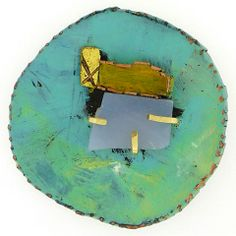 Brooke Marks-Swanson #pendant/#pin: painted copper, chalcedony and 18k gold