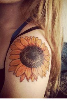 Sunflower, shoulder tattoo on TattooChief.com