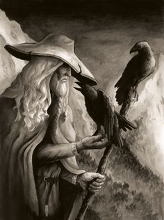 Odin, the god of gods (Allfather). Sacrificed an eye in order to obtain ultimate wisdom. Scandinavian vikings believed he often wandered Midgard (Earth) as an old man in long grey robes followed by a pair of crows.