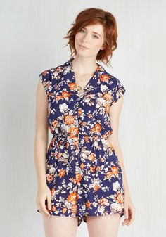 Read It and Steep Romper in Garden. Spend a winning afternoon with a bittersweet love story, hot tea, and the cool comfort of this collared romper. #blue #modcloth