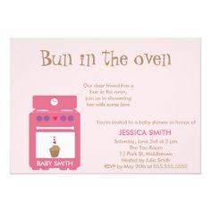 cute funny bun in oven girl baby shower invitation