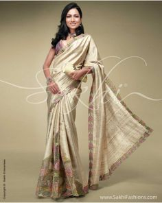 tussar silk with cutwork nd mirror