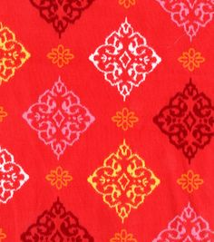 Lisette Collection- Medallion Red Sateen  42'' Wide. 100% Cotton. Machine Wash Cool, No Chlorine Bleach, Tumble Dry Low, Do Not Iron.