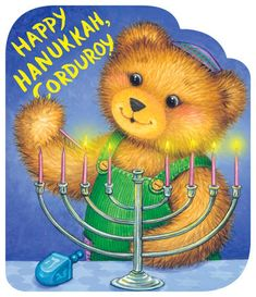 Celebrate the festival of lights with Corduroy, the classic bear loved for 50 years.      Corduroy's having a Hanukkah party for all of his friends. First they light the menorah, then they eat yummy potato pancakes. After they open presents, there's time for a game of dreidel. Introduce little boys and girls to all of the Hanukkah traditions with Corduroy, one of the most beloved children's books characters for the past five decades. Jewish Hanukkah, Hannukah, Happy Hanukkah, Hanukkah Crafts, Christmas Books, A Christmas Story, Holiday Fun, Christmas Holidays, Christmas Crafts