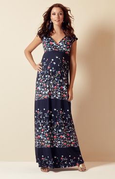 366b1a3168ec7 A full length, light and floaty maxi maternity dress with capped sleeves,  crossover neckline
