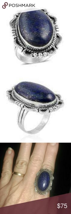 BALI  LAPIS LAZULI STERLING SILVER BALI LEGACY COLLECTION HANDCRAFTED GENUINE LAPIS LAZULI RING SET IN PURE 925-STERLING SILVER/NICKEL FREE-TCW-18.12 BALI LEGACY COLLECTION Jewelry Rings