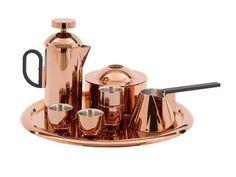 Tom Dixon Copper Coffee Set.  Copper Espresso Cups, Copper tray, copper coffee press, copper sugar bowl, copper milk frother cup