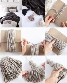 Diy Paper Wall Decor Room Decorations 42 Ideas For 2019 Yarn Crafts, Home Crafts, Diy And Crafts, Crafts For Kids, Creative Crafts, Diy Tassel, Tassels, Beaded Garland, Diy Art