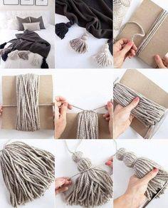 Diy Paper Wall Decor Room Decorations 42 Ideas For 2019 Diy Home Crafts, Yarn Crafts, Creative Crafts, Diy Tassel, Tassels, Diy Para A Casa, Beaded Garland, Macrame Patterns, Diy Art