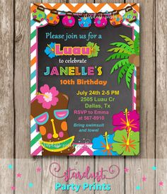 Luau Birthday Invitation Luau Party by StardustPartyPrints on Etsy