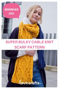 Become confident with cables with this deliciously soft super chunky scarf pattern from MillaMia. | Downloadable PDF at LoveCrafts.com