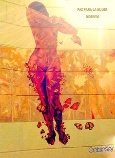 23 de enero de 2015 - PAZ PARA LA MUJER  Morivivi *¡Continuan como una de mis favoritas grafiteras! Ave. Manuel Fernández Juncos con Ramón Baldorioty de Castro. Mi composición de un detalle de esta obra.