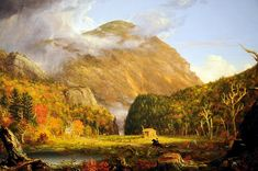 Thomas Cole - The Notch of the White Mountains (Thomas Cole (1801-1848) was an English-born American Artist. He is regarded as the founder of the Hudson River School, an American art movement that flourished in the mid-19th century. Cole's Hudson River School, as well as his own work, was known for its realistic and detailed portrayal of American landscape and wilderness, which feature themes of Romanticism and Naturalism.)