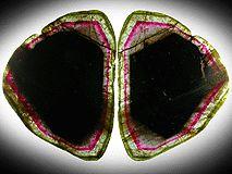 Liddicoatite Tourmaline Slice (set of 2 matched polished slices from a single crystal) from Alakamisy Itenina, south of Antsirabé, Fianarantsoa, Haute Matsiatra, Madagascar