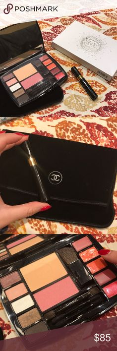 Chanel imitable travel makeup palette One lipgloss swatches once (as shown). Comes with mascara and velvet sleeve holiday edition. CHANEL Makeup