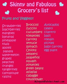 Motivational fitness and diet blog with a skinny and fabulous grocery list