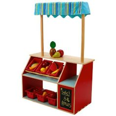 Anatex Market Store by Anatex. $138.93. From the Manufacturer                Our limited edition Market Store provides a delightful outlet for children to explore creative and imaginative play. Constructed of the highest-quality wood, this play store features an awning, 4 plastic bins, a chalkboard for listing specials, and plenty of storage space for play food. Kids will spend hours playing store, making deals, and buying and selling goods. It is great for classrooms, play are...