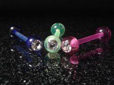 Zungenpiercing Bauchnabel Piercing 1,6 mm, Acryl,  Kristallstein Barbell Helix