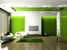 Wohnideen Wohnzimmer-ein ruhiges Gefühl durch die Farbe Grün ...