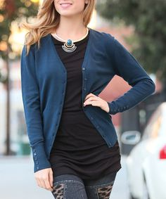 Dark Teal Button-Sleeve Cardigan to go with my floral shirt. by 42POPS on #zulily! #zulilyfinds