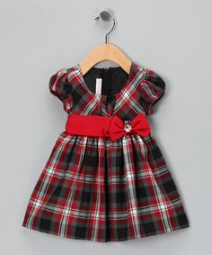 Take a look at this Red & Black Plaid Bow Dress - Infant on zulily today!