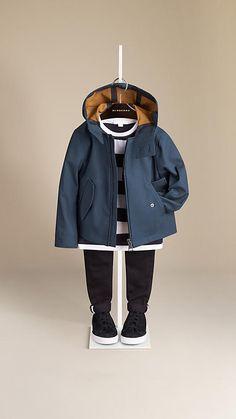 Bleu toile sombre/cognac Veste imperméable à capuche en coton contrecollé - Image 1