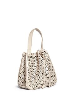 Alaïa | 'Vienne' perforated drawstring leather hobo bag