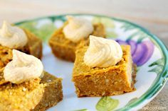 "Pumpkin Pie Squares: These pumpkin squares are easier to make than pumpkin pie and they are firm enough to be eaten as finger food. They are great by themselves, or add a bit of Macadamia-Vanilla Frosting for a little ""Happy Holidays."""