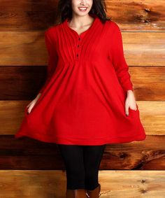 Another great find on #zulily! Red Pin Tuck Button A-Line Tunic - Plus #zulilyfinds