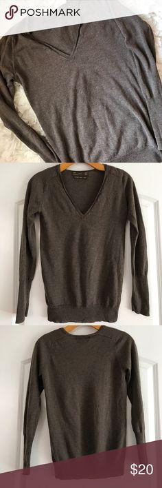 "Merino Wool and Silk Zara Knit Top V neck light weight sweater from Zara. Soft long sleeve. Great layering piece. Length 23.5"" Pit to Pit 16"" Zara Sweaters V-Necks"