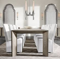RH Modern's Arles Rectangular Dining Table:Introduced in Paris in the 1930s, the Parsons table has since become a design classic. Our contemporary interpretation shares the clean lines and even proportions of the original but distinguishes itself through its dramatically angled legs and sturdy hardwood construction.