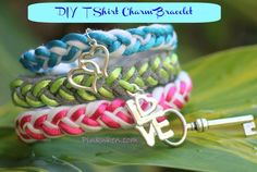 DIY T Shirt Charm Bracelet Tutorial.  So cute and I could use those earrings I've lost the mate to as charms.