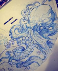Drawing Octopus Tattoo Seabed Rib, Shore, Arm, Leg Pen Bic … - Famous Last Words Octopus Drawing, Octopus Tattoo Design, Octopus Tattoos, Tattoo Designs, Octopus Sketch, Octopus Illustration, Squid Drawing, Tentacle Tattoo, Octopus Artwork