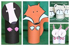 Toilet roll woodland animals fox and badger nápady pro děti Animal Art Projects, Animal Crafts For Kids, Fun Crafts For Kids, Preschool Crafts, Projects For Kids, Crafts To Make, Art For Kids, Percy The Park Keeper, Forest Crafts