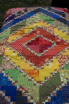 Triple 4-patch--a good way to use beginner's and ender's...I stitch 4 squares to begin my piecing so I don't waste thread-and end with a four square --I end up making pieces for another quilt while working on the current quilt--saving thread in the process--Bonnie K. Hunter idea--she is amazing. http://quiltville.blogspot.com/