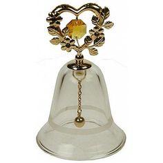 Skleněný zvonek • zdobený zlaceným srdcem s květy