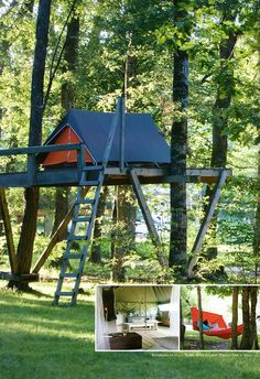 tent on treehouse platform