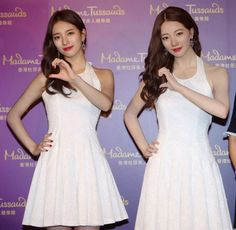 Suzy meets her female wax twin at 'Madame Tussauds' in Hong Kong   allkpop