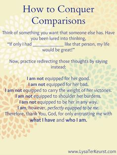 How to Conquer Comparisons: I am not equipped for her good. I am not equipped for her bad.
