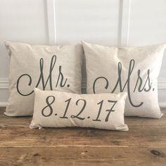 Mr & Mrs Pillow Covers With Wedding Date (Set of - Linen and Ivory Burlap Pillows, Rustic Pillows, Decorative Pillows, Throw Pillows, Lumbar Pillow, Gold Pillows, Personalized Pillows, Personalized Wedding Gifts, Diy Pillow Covers