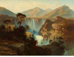 "sbsebek: "" The Waterfall near Terni. Ferdinand Konrad Bellermann - 1854. """