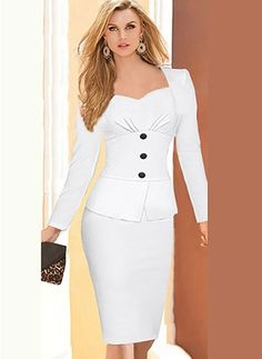 Babyonlinedress® Office OL Wear to Work Long Sleeve Bodycon Casual Party Pencil Dress: Babyonline White Long Sleeves Dresses ruched pleats Bodice Short Party Gown Casual Party Dresses, Elegant Dresses, Vintage Dresses, Half Sleeve Dresses, Dresses With Sleeves, Pencil Skirt Casual, Pencil Dress, Pencil Skirts, Business Dresses