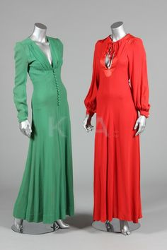 c4af65c2c13 Vintage 1970s Ossie Clark dresses in green and red Celia Birtwell