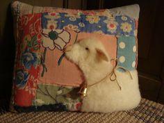 Sheep On Feedsack Quilt Pillow
