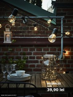 Get your outdoor seating area bright, light and ready for dinners under the stars! IKEA has a wide range of balcony furniture as well as outdoor decorative lighting. Choose a light with a soft glow or something with more of a twinkly shine. Sweet 16 Decorations, Light Decorations, Homemade Decorations, Balcony Lighting, Track Lighting, Porches, Home Nyc, Light Chain, Home Grown Vegetables